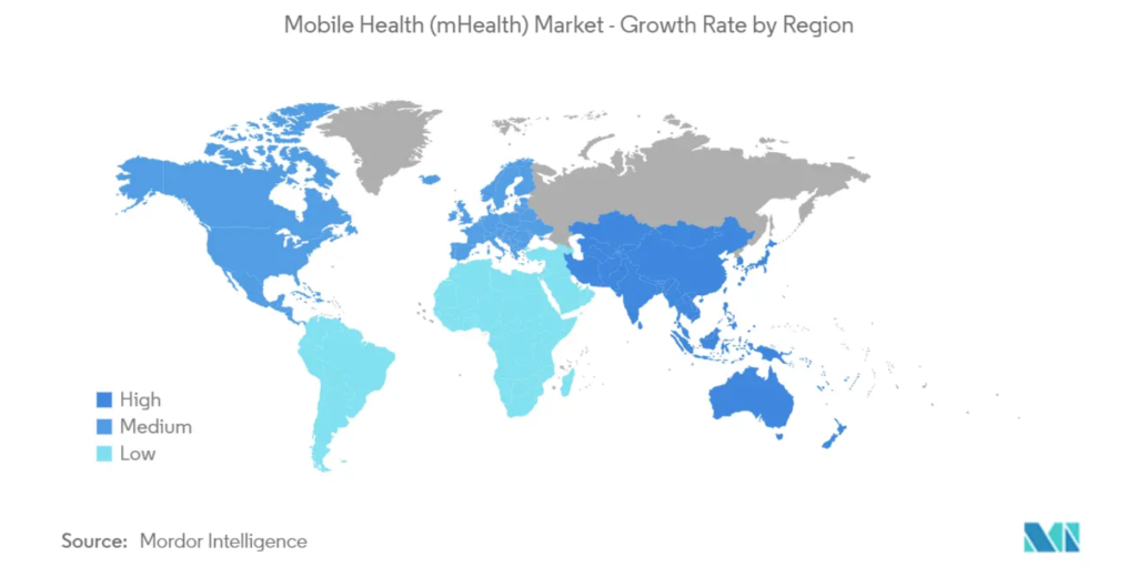 Comparison of mHealth Market Growth Rates by Region